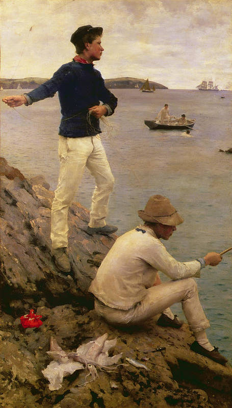 Squid; Guernsey; Jersey; Kerchief Art Print featuring the painting Fisher Boys Falmouth by Henry Scott Tuke