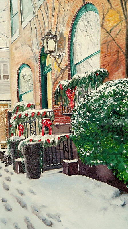 Baltimore Art Print featuring the painting Holiday In The City by John Schuller