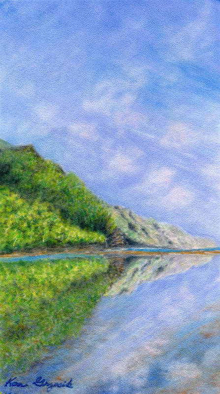 Rainbow Colors Pastel Art Print featuring the painting In Reflection by Kenneth Grzesik