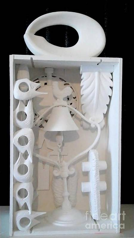 Louise Nevelson Found Art Homage To The Artist Who Wore Diamond Eyelashes Art Print featuring the sculpture Loiuse Nevelson Homage by Martha Hoffer