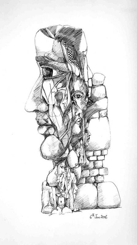 Forms Art Print featuring the drawing Mental Images 1 by Padamvir Singh