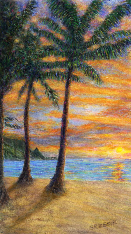 Coastal Decor Art Print featuring the painting Princeville Beach Palms by Kenneth Grzesik