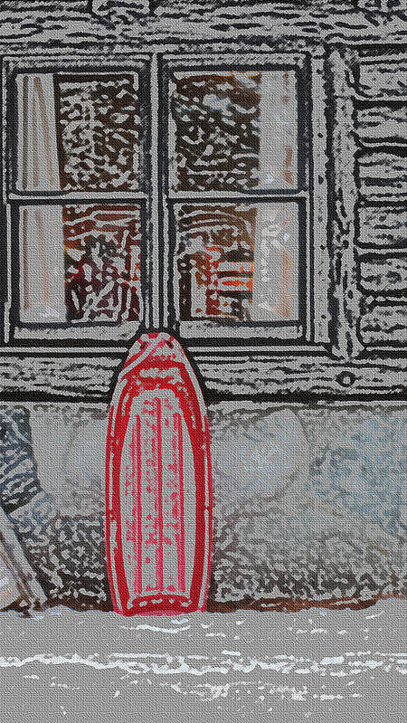 Sled Art Print featuring the photograph Red Sled Waiting by Scott Heister