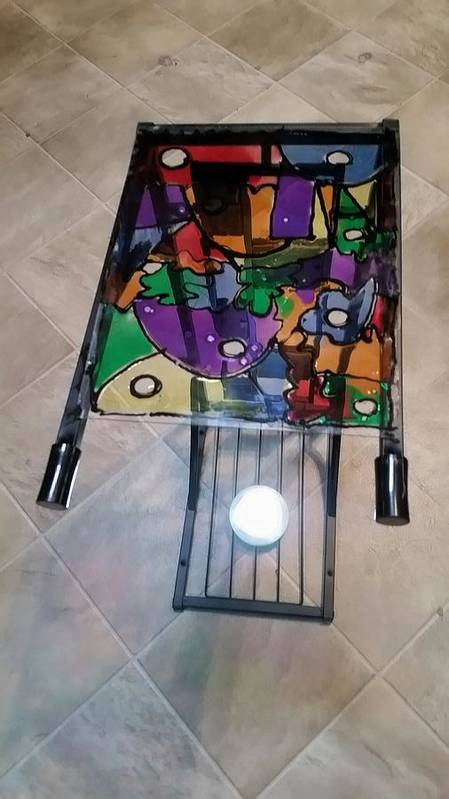 Stained Glass Art Print featuring the glass art Stained Glass Sofa Table by Steve Semiatin
