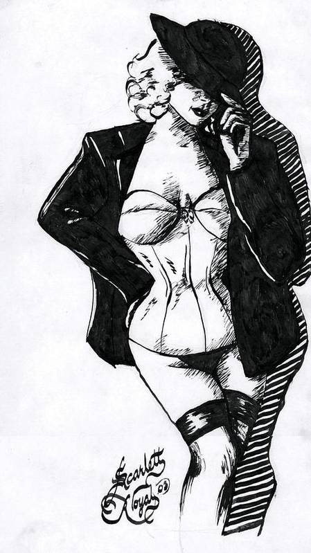 Dancer Art Print featuring the drawing The Tease by Scarlett Royal