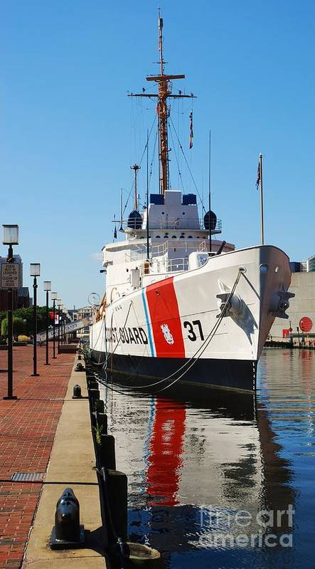 Ship Photography Baltimore Photography Landmark Photography Historic Naval Vessel Photography Iconic Image Photography Reflective Photography Coast Guard Photography Ww 2 Survivor Photography Metal Frame Suggested T Shirt Art Phone Case Art Canvas Print Suitable Duvet Cover Art Art Print featuring the photograph U S C G Taney by Marcus Dagan
