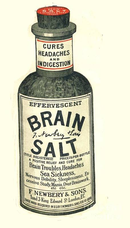 1890�s Art Print featuring the drawing 1890s Uk Brain Salt Headaches Humour by The Advertising Archives