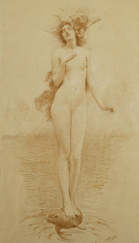 British Art Print featuring the drawing A Study For The Birth Of Love by Solomon Joseph Solomon