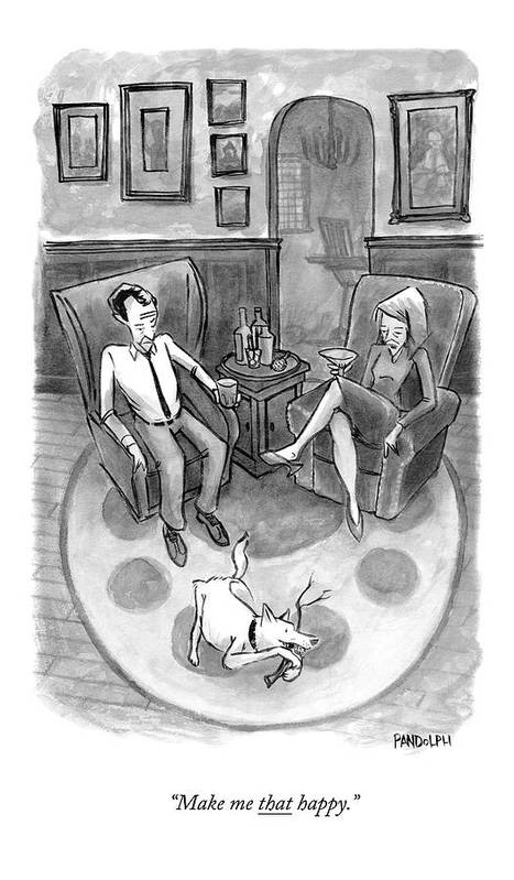 Dog Art Print featuring the drawing A Wife Speaks To Her Husband by Corey Pandolph