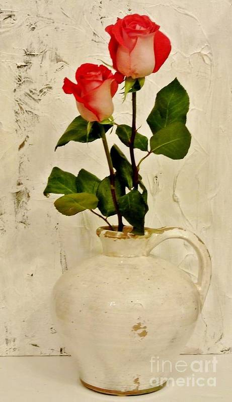 Photo Art Print featuring the photograph Long Stemmed Red Roses In Pottery by Marsha Heiken