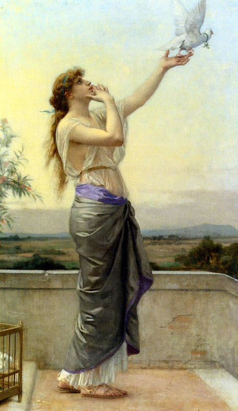 Alexandre Cabanel Art Print featuring the digital art Loves Messenger by Alexandre Cabanel