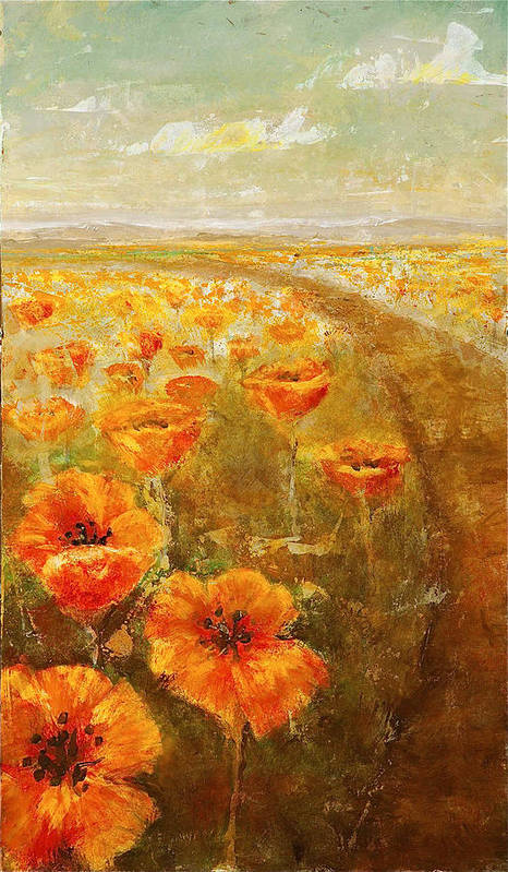 Abstract Landscape Art Print featuring the painting Poppy Field Triptic Middle by Kathleen Mrachek