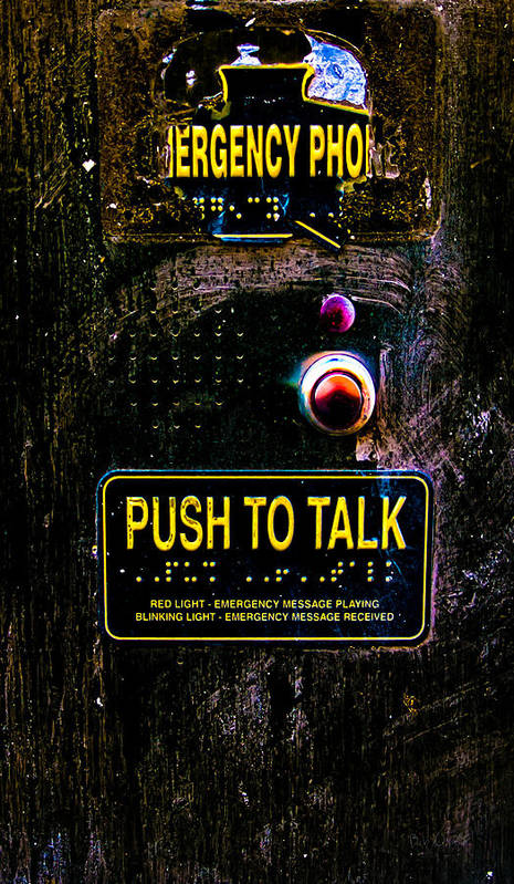 Emergency Phone Art Print featuring the photograph Push To Talk by Bob Orsillo