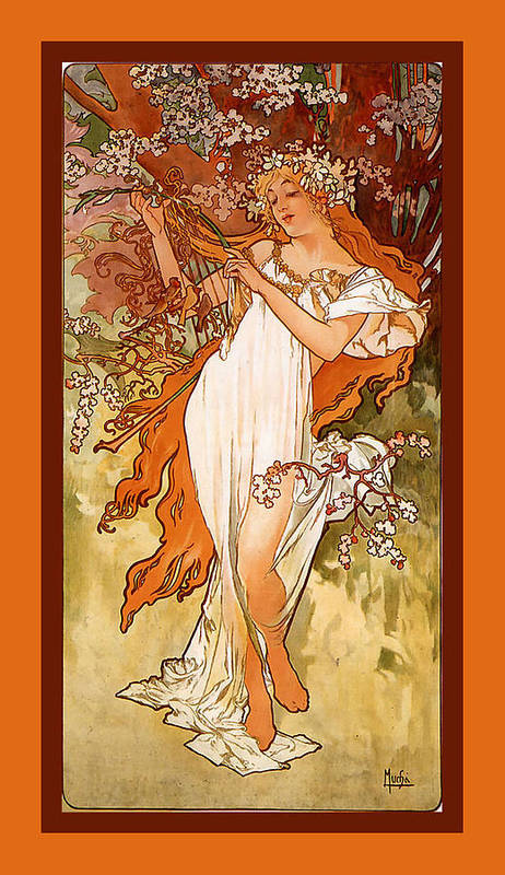Alphonse Maria Mucha Art Print featuring the digital art Spring by Alphonse Maria Mucha