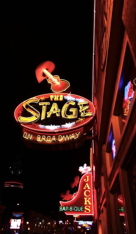 The Stage On Broadway In Nashville Print featuring the photograph The Stage On Broadway In Nashville by Dan Sproul