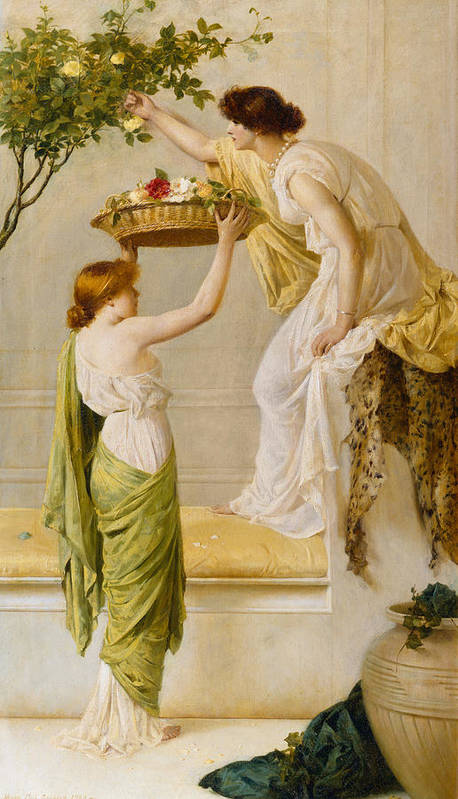 Basket Art Print featuring the painting A Basket Of Roses - Grecian Girls by Henry Thomas Schaefer