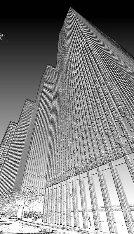 Building Art Print featuring the digital art Building In Monochrome by Pravine Chester