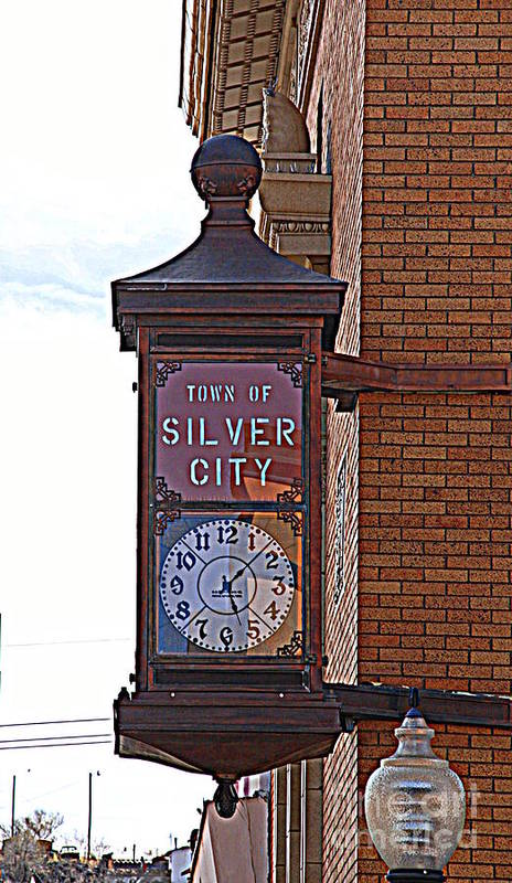 Clock Art Print featuring the photograph City Clock In Silver City Nm by Susanne Van Hulst