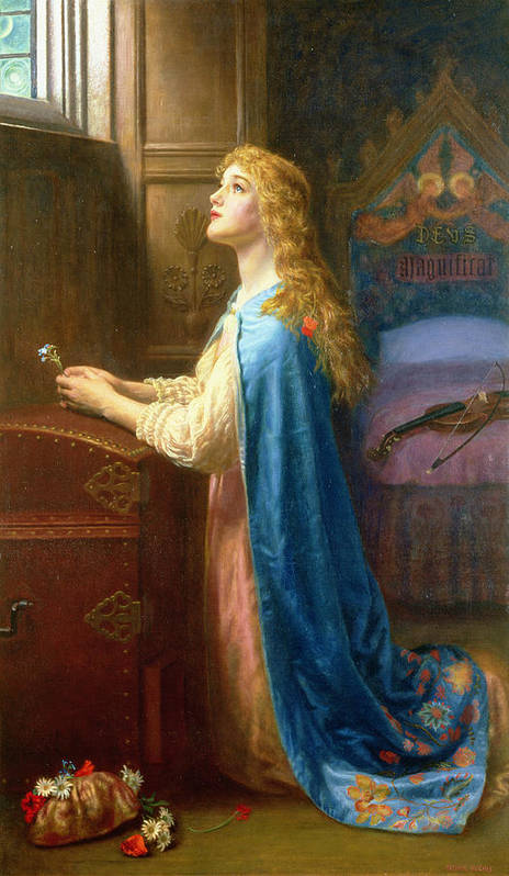 'forget Me Not' Art Print featuring the painting 'forget Me Not' by Arthur Hughes