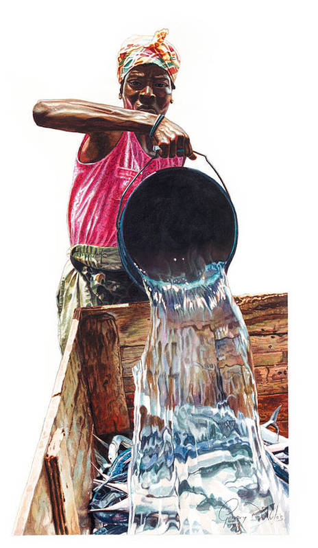 Fishes Art Print featuring the painting Fresh Fish Today by Gregory Jules
