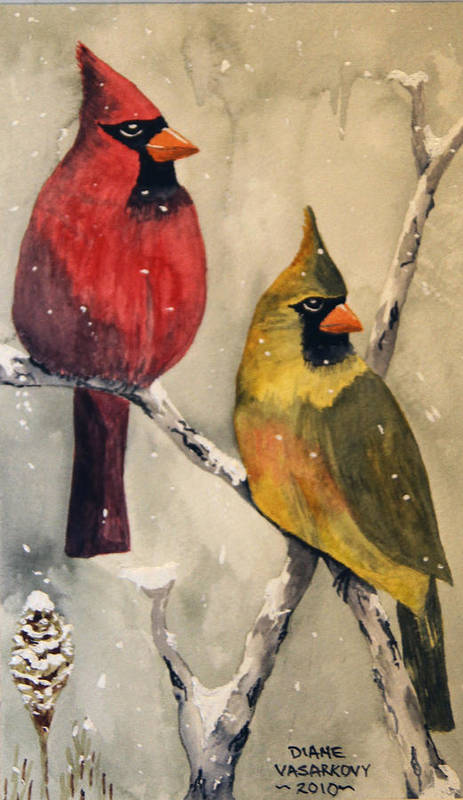 Christmas Art Print featuring the painting Snow Cardinals by Diane Vasarkovy