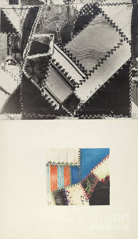 Art Print featuring the drawing Textile: Technique Demonstration by American 20th Century