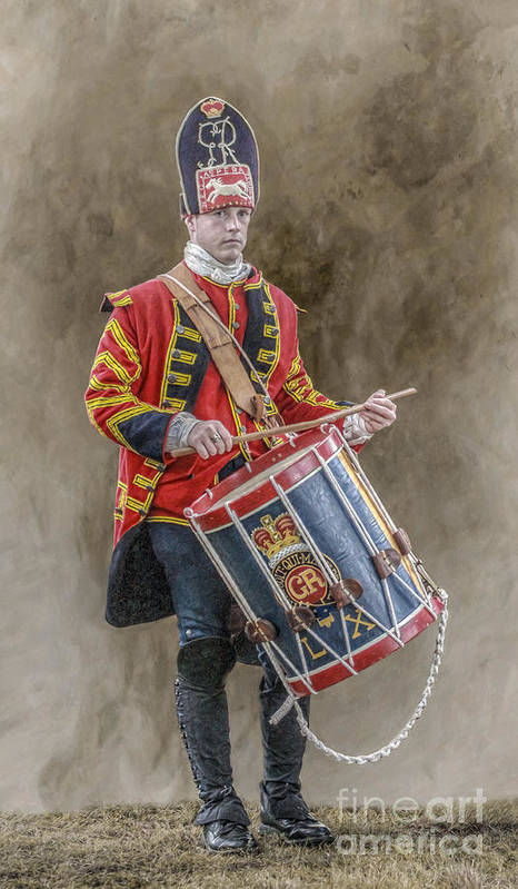 Colonial British Drummer Portrait Art Print By Randy Steele