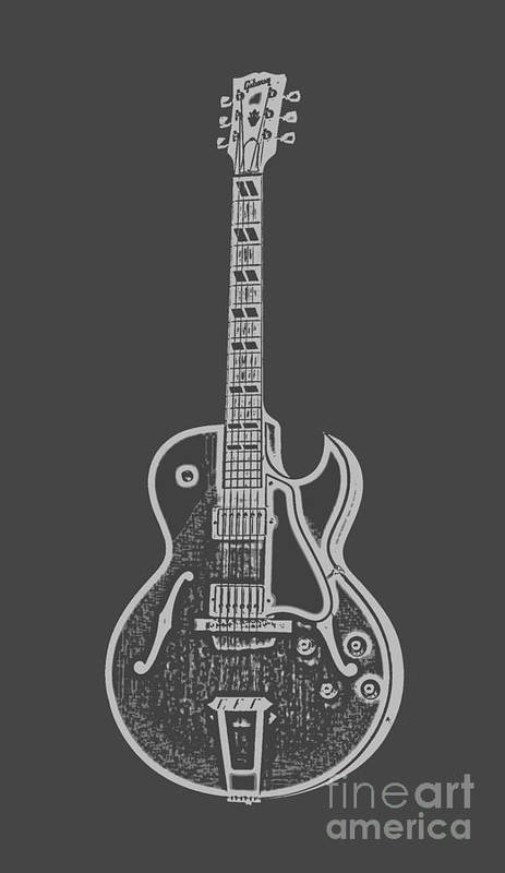Instrument Art Print featuring the digital art Gibson Es-175 Electric Guitar Tee by Edward Fielding