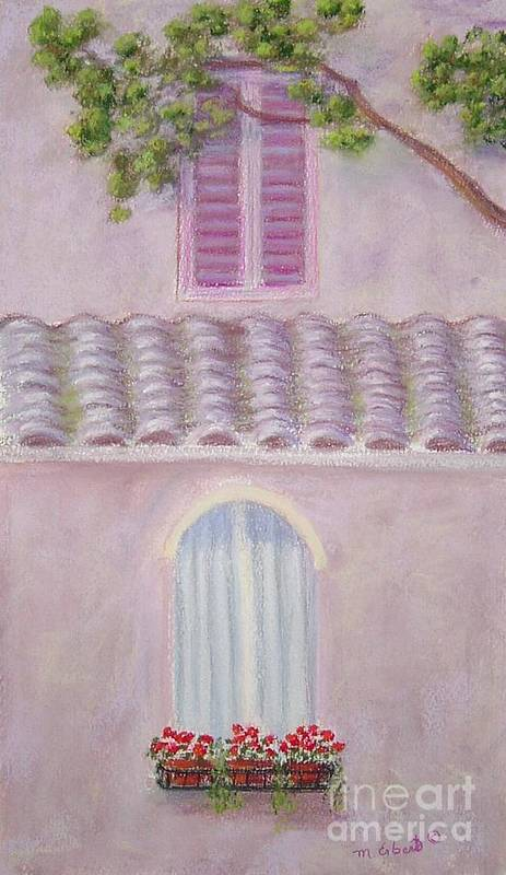 Window Boxes Art Print featuring the painting La Casa Rosa Lunga Il Treve by Mary Erbert