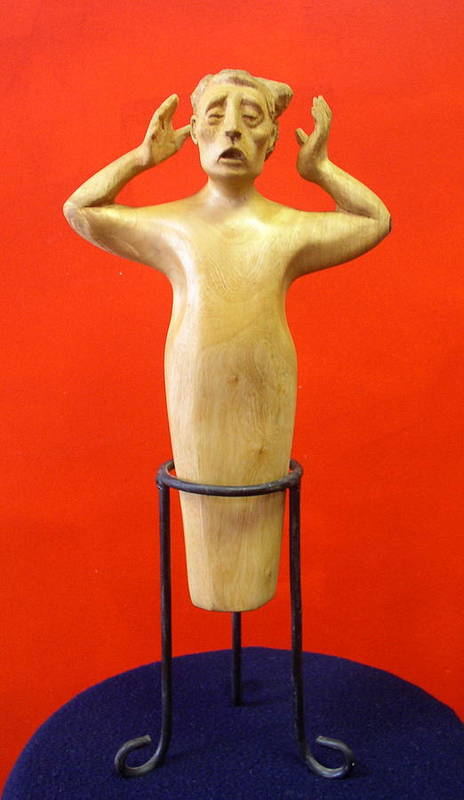 Figure Wood Art Print featuring the sculpture Losing More... by Victor Amor