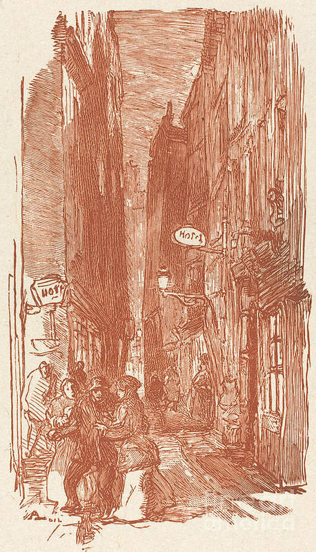 Art Print featuring the drawing Rue Saint-severin by Auguste Lep?re