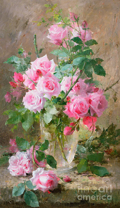 Still Art Print featuring the painting Still Life Of Roses In A Glass Vase by Frans Mortelmans