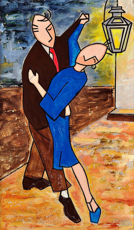 Blue Tango Art Print featuring the mixed media Tango 2 by Victor Madero
