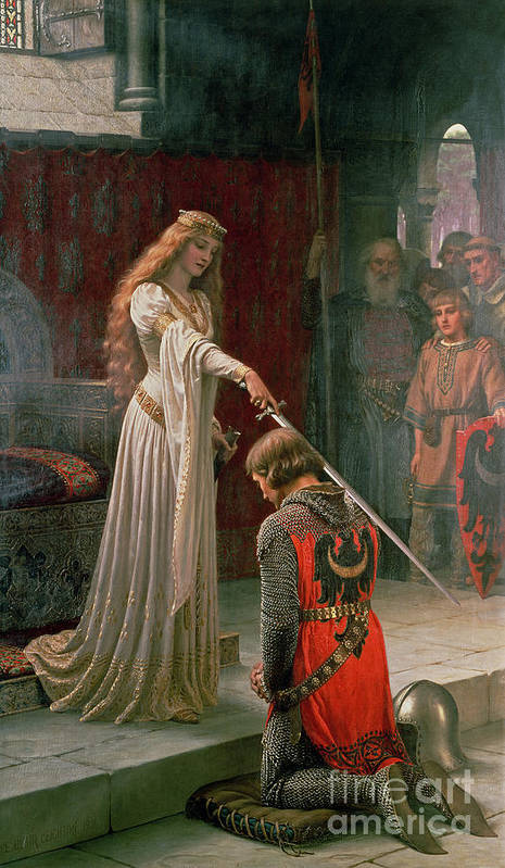 The Art Print featuring the painting The Accolade by Edmund Blair Leighton