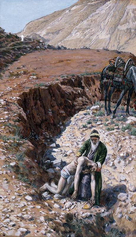 The Art Print featuring the painting The Good Samaritan by Tissot