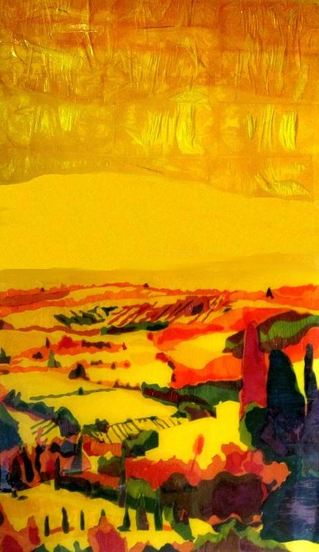 Landscape Art Print featuring the painting Tuscan View In Resin by Jason Charles Allen