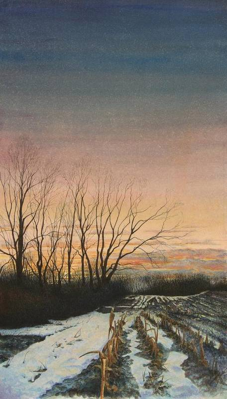 Landscape Art Print featuring the painting Winter Field by Stephen Bluto