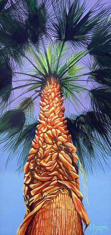 Palm Tree In Palm Springs California Art Print featuring the painting Holding Onto The Earth by Hunter Jay