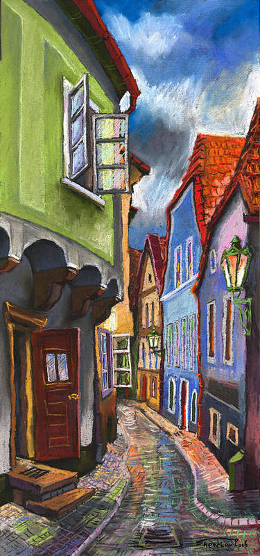 Pastel Chesky Krumlov Old Street Architectur Art Print featuring the painting Cesky Krumlov Old Street 1 by Yuriy Shevchuk