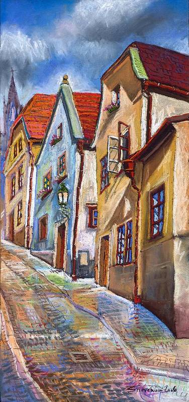 Pastel Chesky Krumlov Old Street Architectur Art Print featuring the painting Cesky Krumlov Old Street 2 by Yuriy Shevchuk