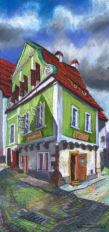 Pastel Chesky Krumlov Old Street Cityscape Realism Architectur Art Print featuring the painting Cesky Krumlov Old Street 3 by Yuriy Shevchuk