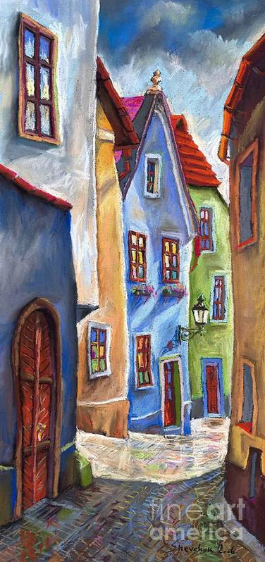 Cityscape Art Print featuring the painting Cesky Krumlov Old Street by Yuriy Shevchuk