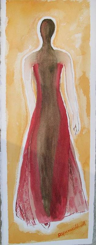 Dress Lady Red Yellow Fashion Art Print featuring the painting Stranger by Patricia Caldwell