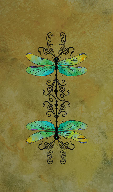 Dragonfly Art Print featuring the mixed media Art Nouveau Damselflies by Jenny Armitage