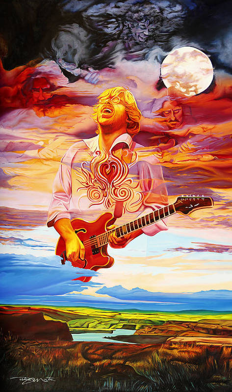 Trey Anastasio Art Print featuring the painting Channeling The Cosmic Goo At The Gorge by Joshua Morton