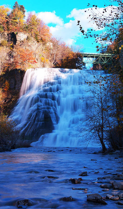 Ithaca Art Print featuring the photograph Ithaca Water Falls New York Panoramic Photography by Paul Ge