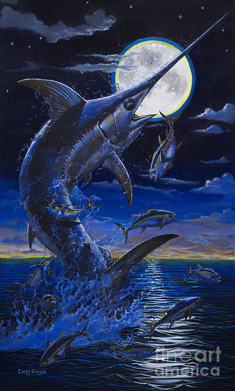 Swordfish Art Print featuring the painting Moon Doggie Off00124 by Carey Chen