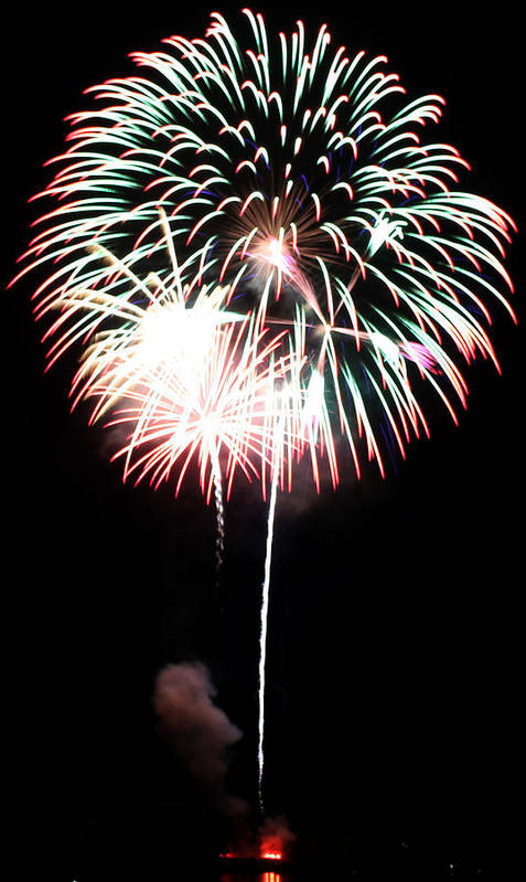 Fireworks Art Print featuring the photograph 4th Of July Fireworks 4 by Howard Tenke