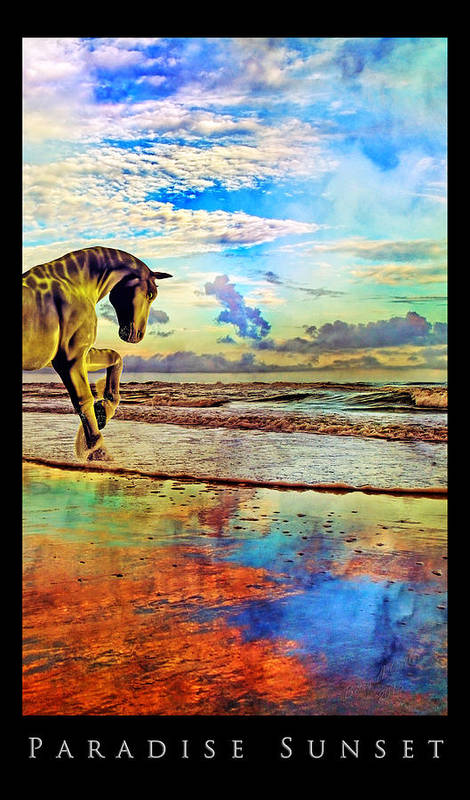 Beach Art Print featuring the mixed media Paradise Sunset by Betsy Knapp