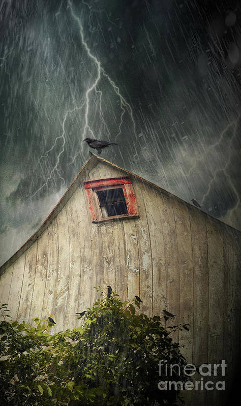 Abandoned Art Print featuring the photograph Spooky Old Barn With Crows On A Stormy Night by Sandra Cunningham